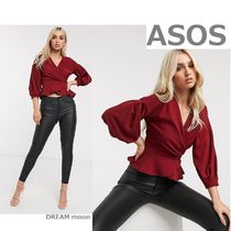 boohoo Puffed Sleeves Long Sleeves Plain Party Style Office Style