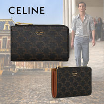 CELINE Triomphe Canvas Monogram Calfskin Canvas Leather Coin Cases