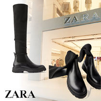ZARA Platform Plain Toe Casual Style Plain Over-the-Knee Boots