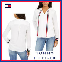 Tommy Hilfiger Stripes Lace-up Long Sleeves Plain Long Office Style