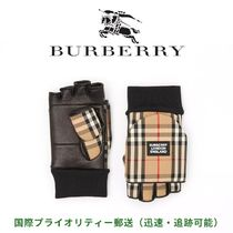 Burberry Other Check Patterns Blended Fabrics Leather Logo