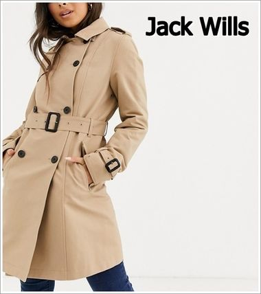 Casual Style Plain Medium Coats
