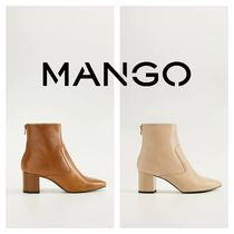 MANGO Leather Block Heels Mid Heel Boots