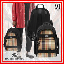 Burberry Other Plaid Patterns Canvas Nylon Logo Backpacks