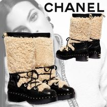 CHANEL 【CHANEL】 High Boots Casual Style Sheepskin Flat Boots