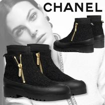 CHANEL Casual Style Tweed Plain Office Style Elegant Style