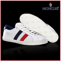 MONCLER Stripes Unisex Blended Fabrics Street Style Leather Sneakers