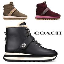 Coach Rubber Sole Lace-up Casual Style Suede Blended Fabrics Plain