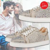 Christian Louboutin Round Toe Rubber Sole Lace-up Casual Style Street Style