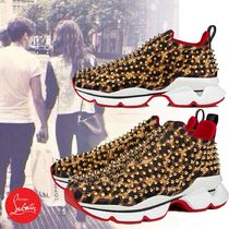 Christian Louboutin Spike Sock Round Toe Rubber Sole Casual Style Studded Street Style