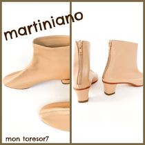 MARTINIANO Plain Leather Elegant Style Mid Heel Boots