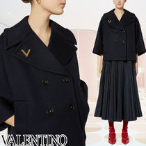 VALENTINO Short Casual Style Wool Cashmere Blended Fabrics Plain