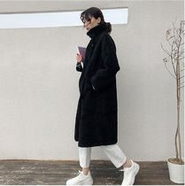 Faux Fur Street Style Plain Long Cashmere & Fur Coats