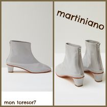 MARTINIANO Plain Leather Elegant Style Ankle & Booties Boots