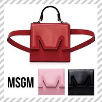 MSGM Casual Style Calfskin 2WAY Plain Party Style Elegant Style