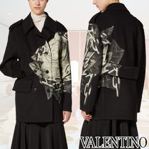 VALENTINO Short Flower Patterns Casual Style Wool Cashmere