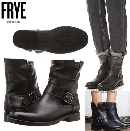 Casual Style Plain Leather Flat Boots