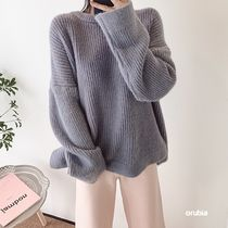 Crew Neck Cable Knit Casual Style Rib Blended Fabrics