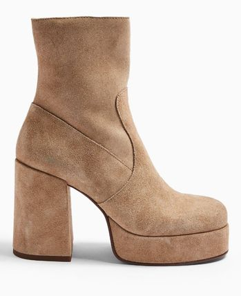 Platform Casual Style Leather Ankle & Booties Boots