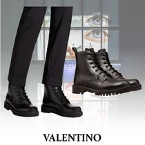 VALENTINO VLTN Mountain Boots Plain Leather U Tips Outdoor Boots