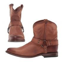 FRYE Cowboy Boots Casual Style Studded Plain Leather Flat Boots