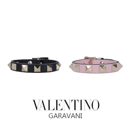 Casual Style Studded Leather Bracelets