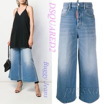 D SQUARED2 Denim Plain Cotton Wide & Flared Jeans