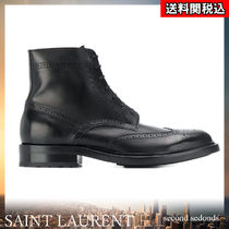 Saint Laurent Wing Tip Street Style Plain Leather Engineer Boots