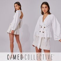 Cameo the Label Casual Style Puffed Sleeves Long Sleeves Plain Cotton Medium
