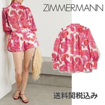 Zimmermann Paisley Blended Fabrics Puffed Sleeves Long Sleeves
