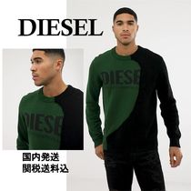DIESEL Crew Neck Pullovers Long Sleeves Cotton Sweaters