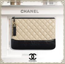 CHANEL Calfskin Bi-color Chain Party Style Elegant Style Logo