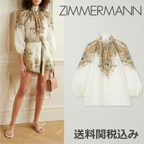 Zimmermann Paisley Blended Fabrics Cropped Elegant Style Puff Sleeves