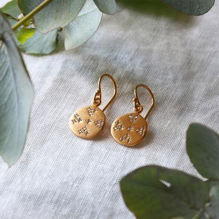 Blended Fabrics 18K Gold With Jewels Earrings