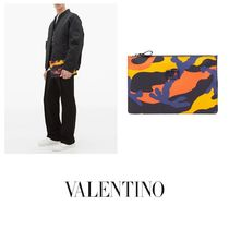VALENTINO Camouflage Canvas Logo Military Clutches