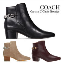 Coach Rubber Sole Casual Style Chain Plain Leather Block Heels