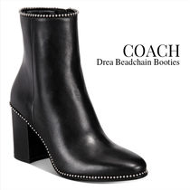 Coach Plain Toe Rubber Sole Chain Plain Leather Block Heels