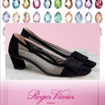 Roger Vivier Square Toe Casual Style Leather Party Style Chunky Heels