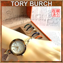 Tory Burch GIGI Casual Style Leather Round Party Style Quartz Watches
