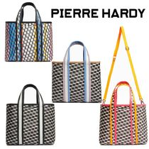 Pierre Hardy Casual Style Calfskin Canvas Nylon 2WAY Party Style Totes