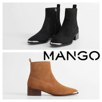 MANGO Rubber Sole Leather Block Heels Ankle & Booties Boots