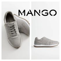 MANGO Round Toe Rubber Sole Casual Style Leather Low-Top Sneakers