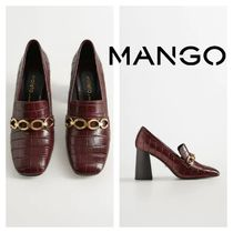 MANGO Square Toe Other Animal Patterns Block Heels