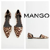 MANGO Leopard Patterns Rubber Sole Leather Office Style Flats