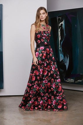 Flower Patterns Maxi Sleeveless Long Party Style Lace