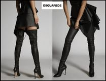 D SQUARED2 Street Style Plain Leather Pin Heels High Heel Boots