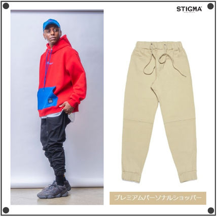 STIGMA Joggers & Sweatpants Unisex Street Style Plain Cotton Logo Joggers & Sweatpants