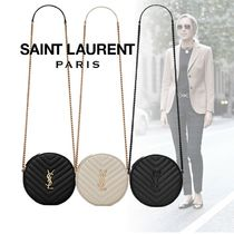 Saint Laurent Monogram Casual Style Calfskin Chain Plain Elegant Style
