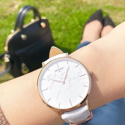 Casual Style Unisex Leather Round Party Style Quartz Watches