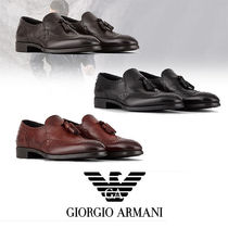 GIORGIO ARMANI Moccasin Street Style Plain Leather Loafers & Slip-ons